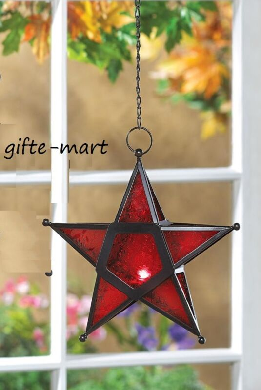 Hanging RED Moroccan STAR Tea-light Candle Holder Lantern Outdoor Terrace Lamp • 22.07$