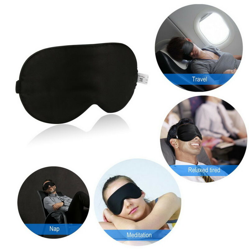AU5.69 • Buy 100% Pure Silk Sleeping Sleep Soft Eye Mask Blindfold Lights Out Travel Relax OZ