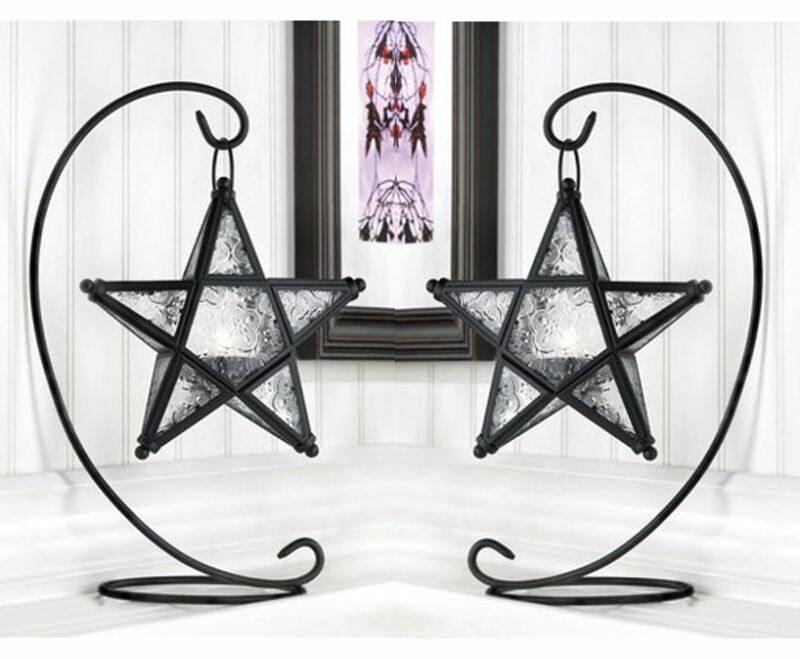 2 Black Moroccan STAR 13  Candle Holder Lantern Light Terrace Outdoor Terrace • 30.10$