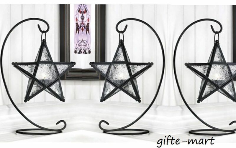 3 Hanging Black Moroccan STAR 13  Candle Holder Lantern Light Lamp & Table Stand • 36.62$