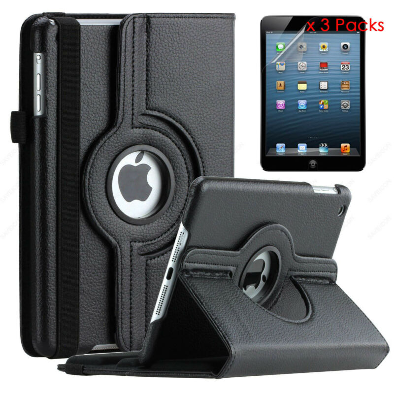 $10.44 • Buy Rotating Stand Leather IPad Case Cover For IPad 2 3 4 5 Mini 2 3 Air 1 2 Pro 9.7