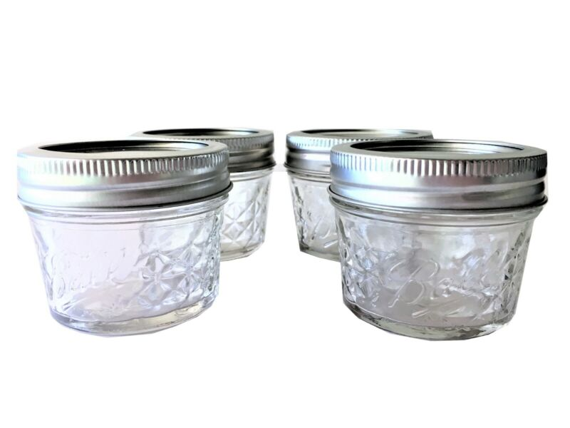 Ball Mason Jar Jelly Jars 4 Oz. Quilted Crystal Style Regular Mouth-4 Jars • 7.85$