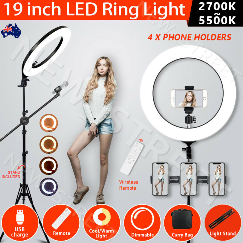 AU88.99 • Buy 19  5500K Dimmable Diva LED Ring Light Diffuser With Stand Make Up Studio Video