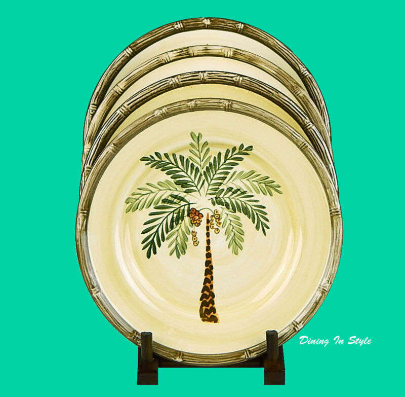 $12.76 • Buy Set Of 4 Salad Plates, SUPERB! Home Trends, West Palm, Palm Tree & Bamboo