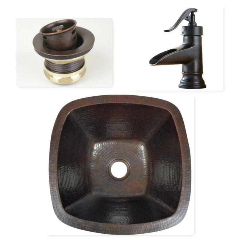 $239.95 • Buy 15  Square Copper Bar Prep Sink With 2  Mini Strainer Drain And ORB Faucet