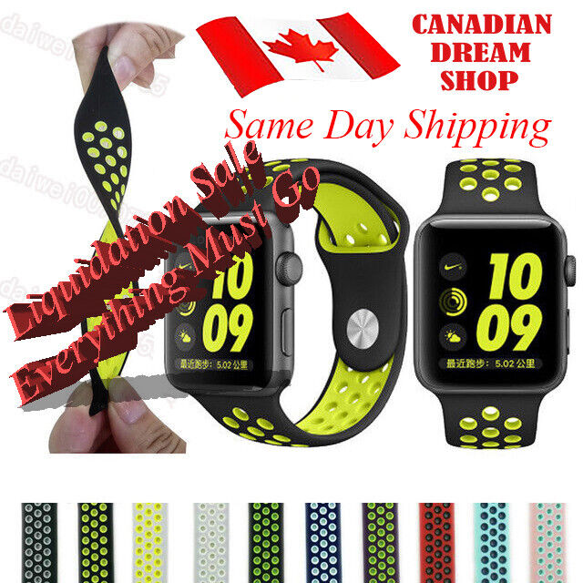 $ CDN8.79 • Buy Silicone Strap For Apple Watch Band 42mm/38mm IWatch Nike+ All Series 1 2 3 4