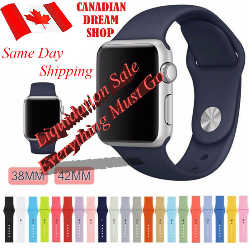 $ CDN7.99 • Buy Silicone Replacement Strap For Apple Watch Band 42mm/38mm All Series 1 2 3 4