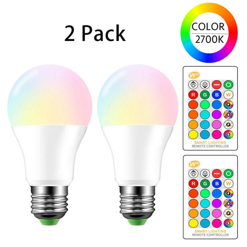 $10.99 • Buy E26 LED Light Bulbs RGB Color Changing 10W A19 Warm White With Remote 2 Pack