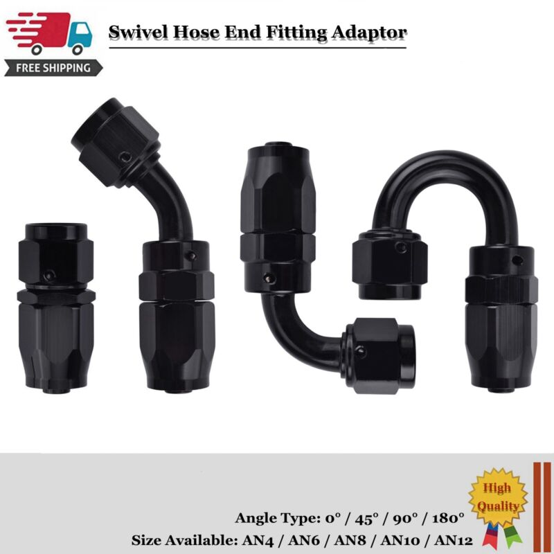 Black AN10 AN-10 Straight Push Lock Oil//Fuel//Gas Hose Line End Fitting Adapter