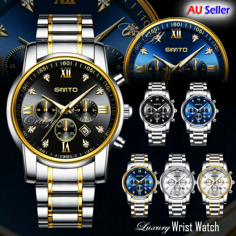AU24.99 • Buy GIMTO Fashion Men's Watches Stainless Steel Date Waterproof Quartz Wrist Watch