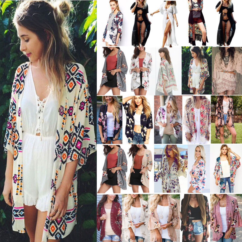 AU13.29 • Buy Boho Womens Cover Up Loose Floral Print Kimono Cardigan Ladies Jacket Coat Tops