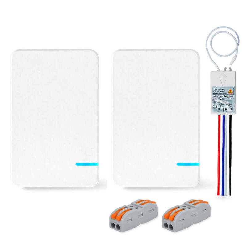 3 Way Wireless Light Switch W/ Portable Transmitter + Receiver ON/OFF Control • 21.68$