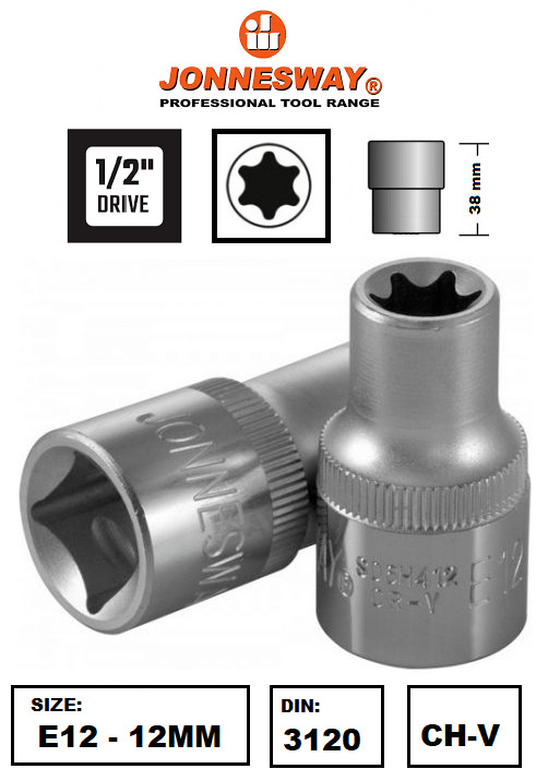 $4.95 • Buy Jonnesway S06H412 1/2  Drive Torx Star Female Socket E12