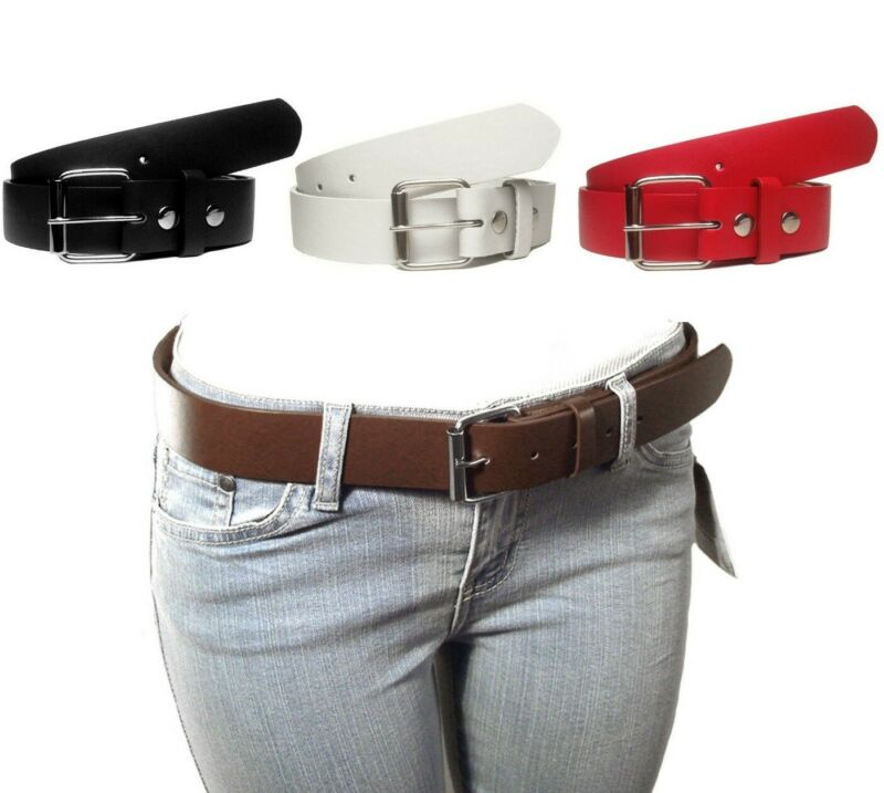 $5 • Buy NEW Kids Junior Size Thick Leather Belts Removable Silver Buckle Black White Red