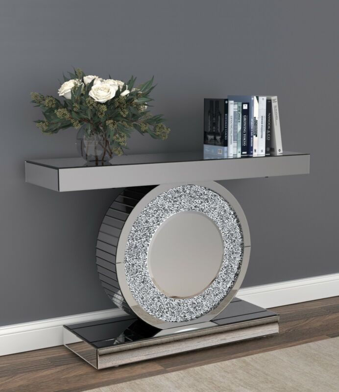 $899.99 • Buy Modern Glam Mirrored Entryway Console Table Acrylic Sparkle Inlay & LED Light