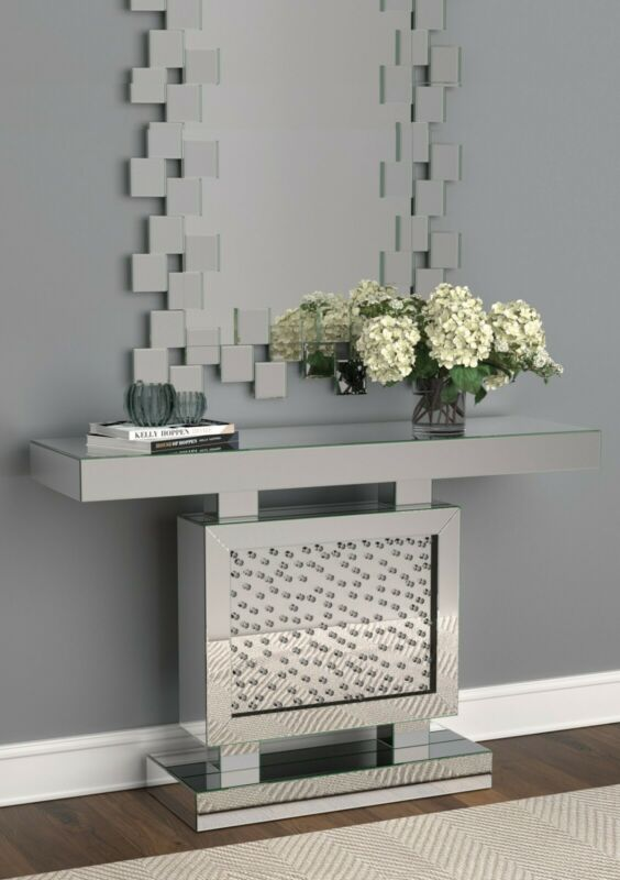 $899.99 • Buy Modern Glam Accent Mirrored Entryway Console Table Acrylic Crystal Sparkle Inlay