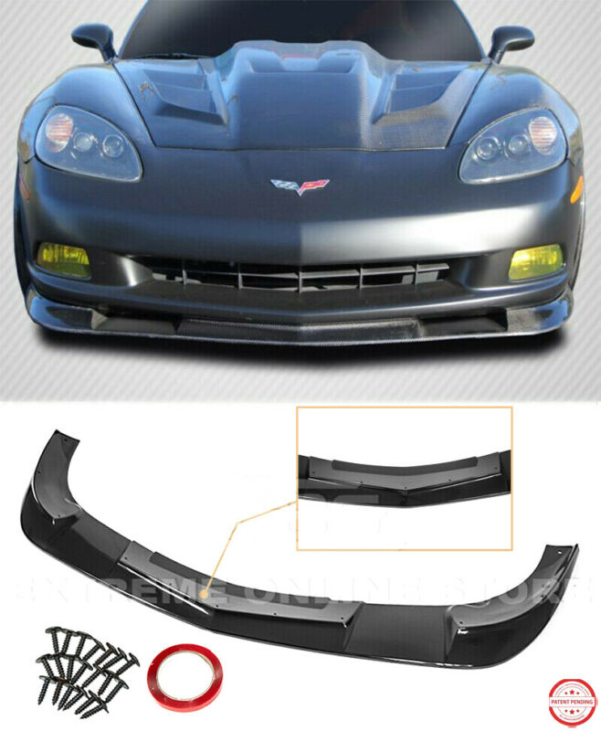 $199.99 • Buy ZR1 Extended Style Front Lip For 05-13 Corvette C6 BASE | BLACK Lower Splitter