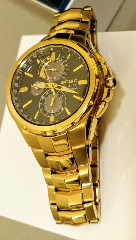 AU375 • Buy Unwanted Gift New Seiko Coutura Gold SSC394P1 Solar Perpetual Watch