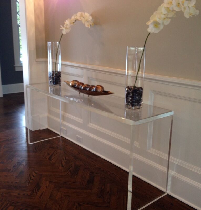 $1395 • Buy Handcrafted Acrylic Console Table, 1.5  Thick, Straight Legs - 48x15x30
