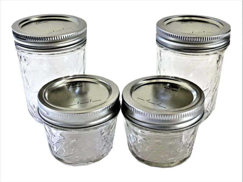 Ball Mason Jelly Jars 2-8 Oz., 2-4 Oz Quilted Crystal Regular Mouth-Set Of 4 • 8.85$
