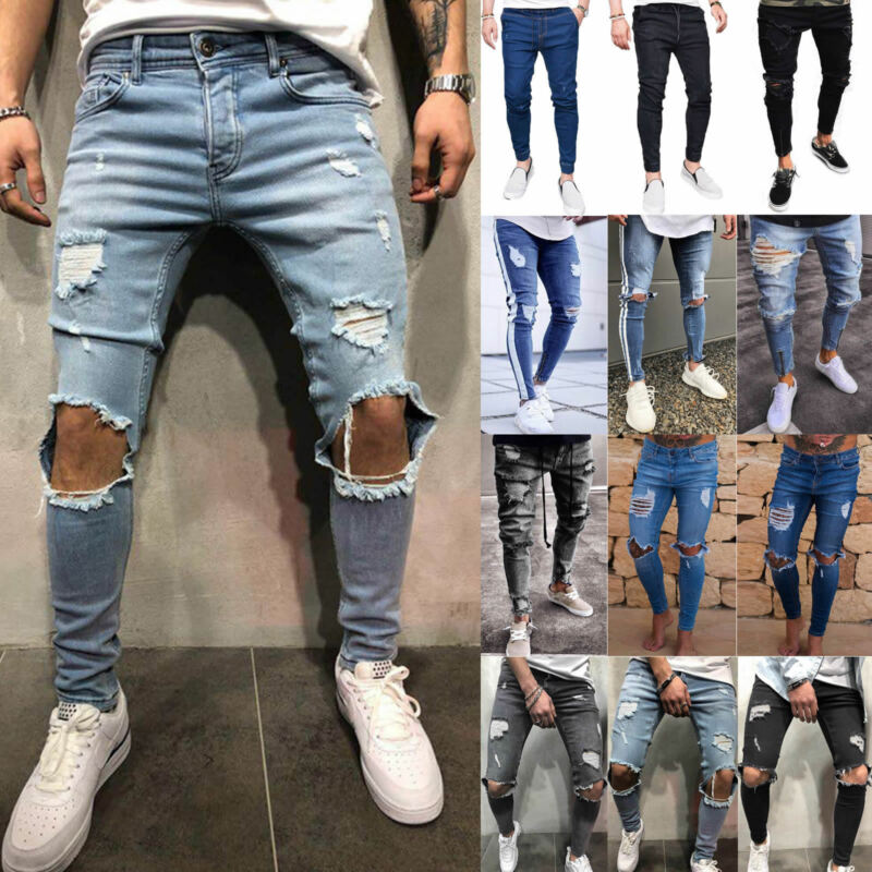 2851770463ec Men's Skinny Jeans Trousers Biker Destroyed Frayed Stretch Denim Ripped  Pants • 18.04$