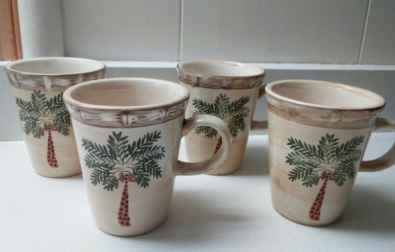 $19.99 • Buy Home Trends West Palm Tree Set 4 Mugs/Cups