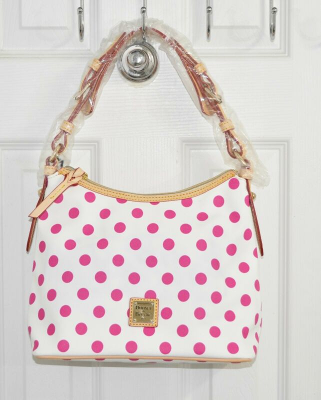 Dooney & Bourke Bag Lucy Without Pockets White/Fuchsia Dots • 135$