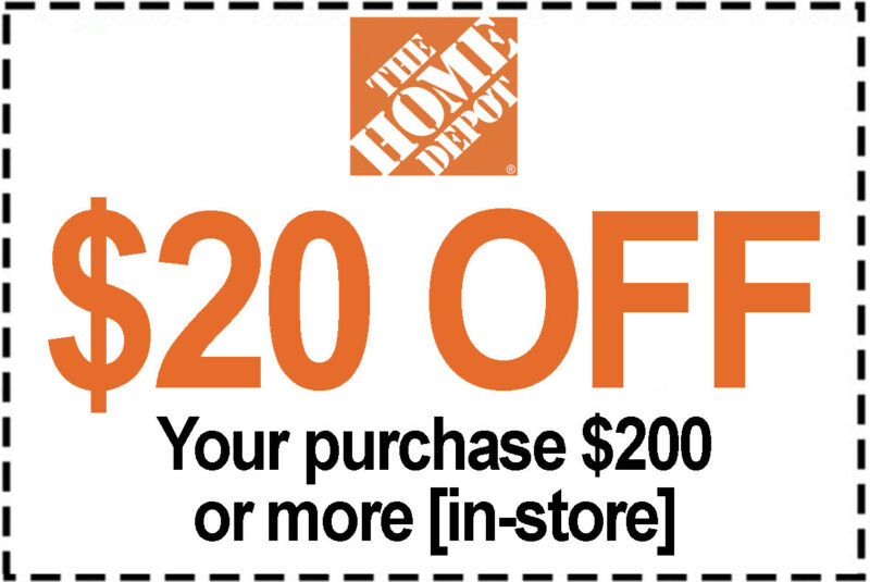 $2.48 • Buy 1x Home Depot Coupon $20 Off $200 IN-STORE ONLY - 1 To 5 Mins EmaiI Delivered