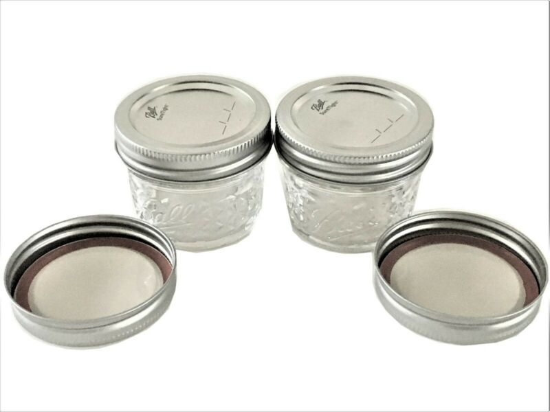 Ball Mason Jar Jelly Jars 4 Oz. Quilted Crystal Reg Mouth-Lot Of 2 W /Extra Lids • 6.85$