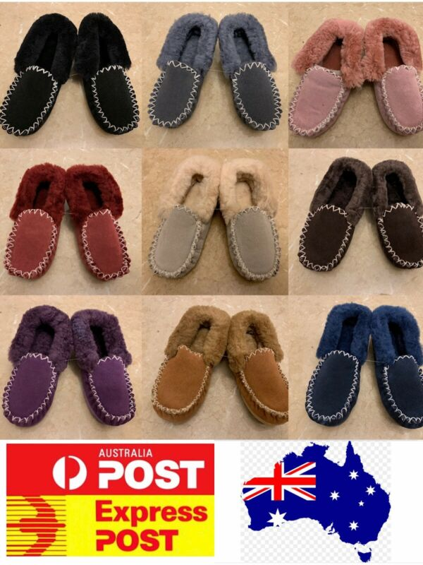 AU37.50 • Buy UGG Sheepskin Moccasin Slippers, Comfy 100% Sheepskins, Ladies Sizes Measure
