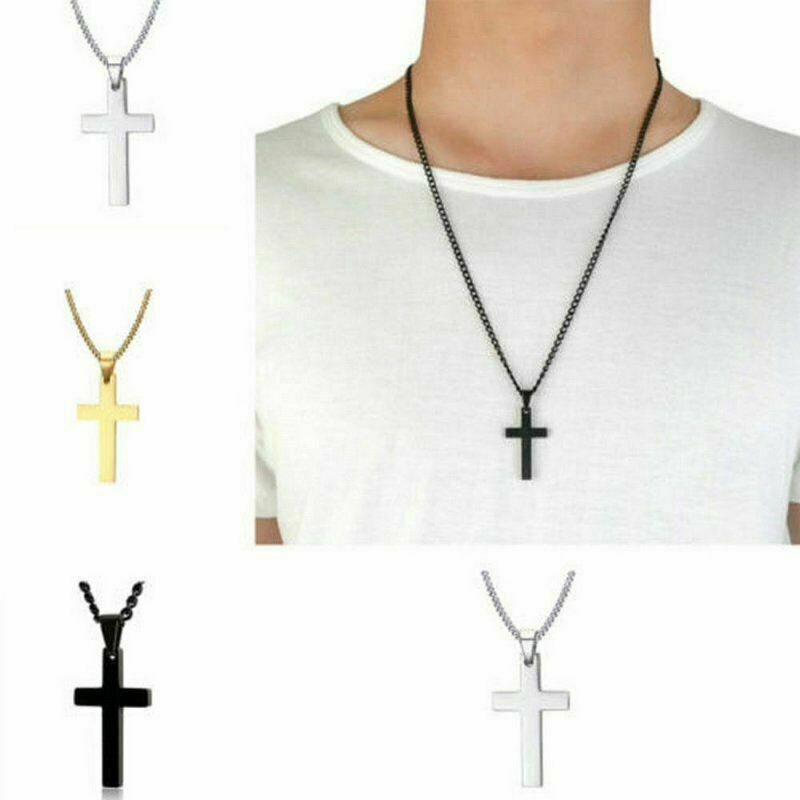 $3.99 • Buy Cross Pendant Necklace Stainless Steel Unisex Crucifix Men Women With Chain GHI