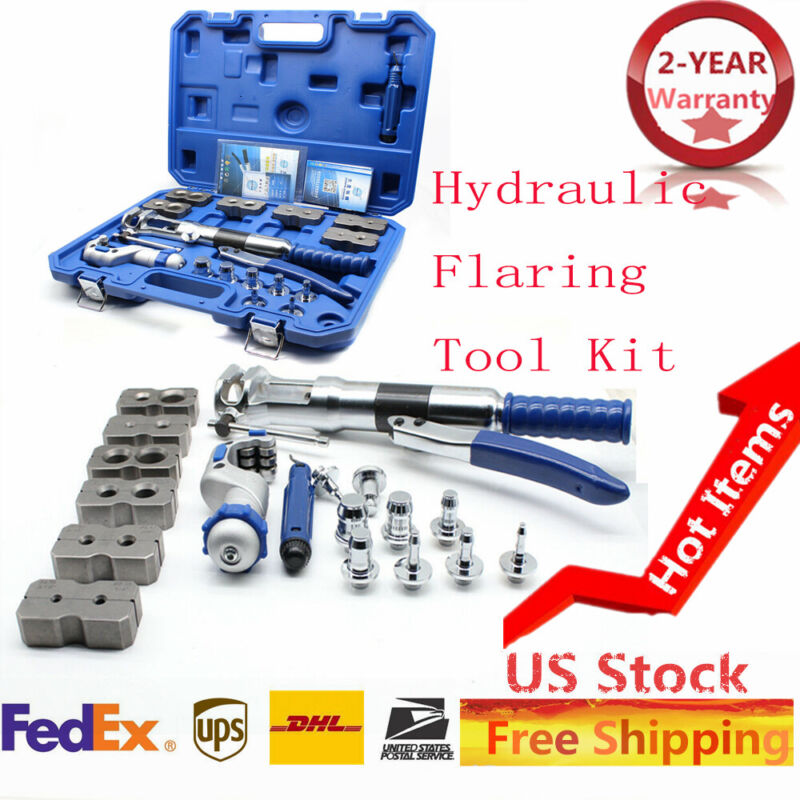 WK-400 Universal Hydraulic Flaring Tool Set Copper Pipe Line Kit + Cutter • 338.20$
