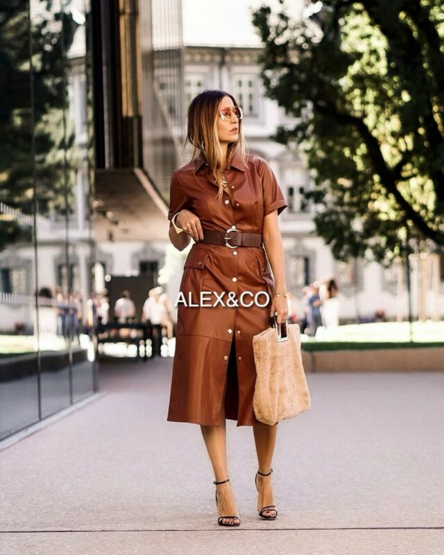 $65 • Buy  Nwt_zara Aw19 Midi Faux Leather Dress Belt Shirt-style Brown Xs-xl 3046/292