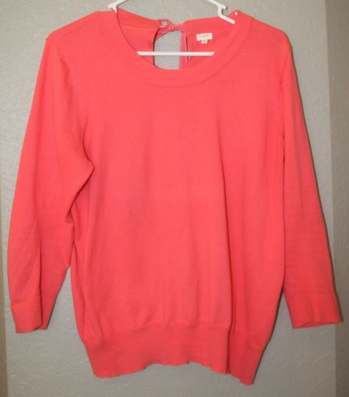 $18.99 • Buy Women's J. Crew Factory Coral Cotton Keyhole Sweater With Bow Back Size XL