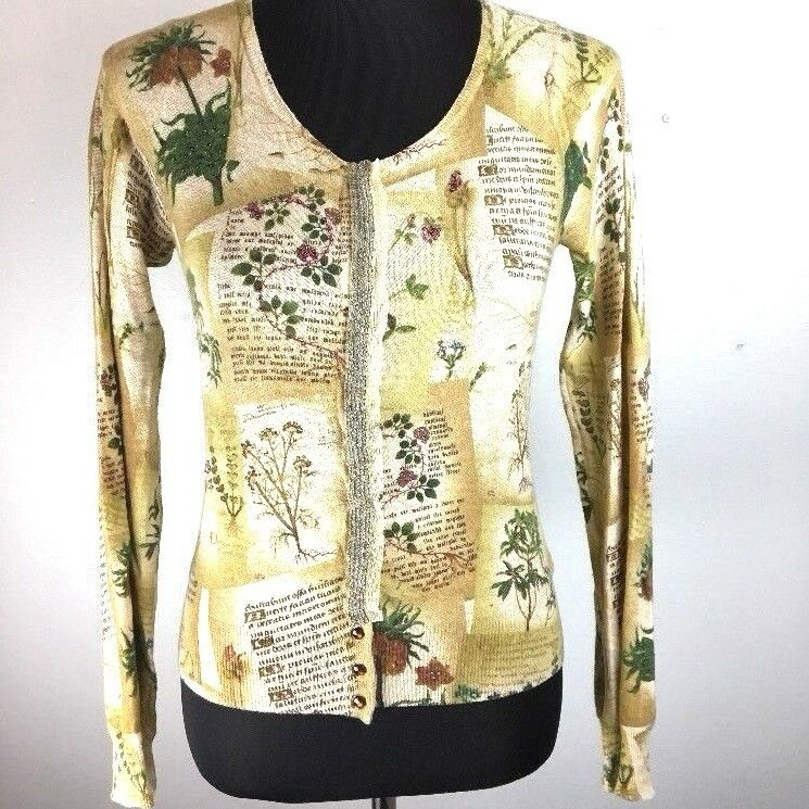 $ CDN13.13 • Buy Anthropologie Guinevere Horticultural Womens Cardigan Sweater S Floral Beaded