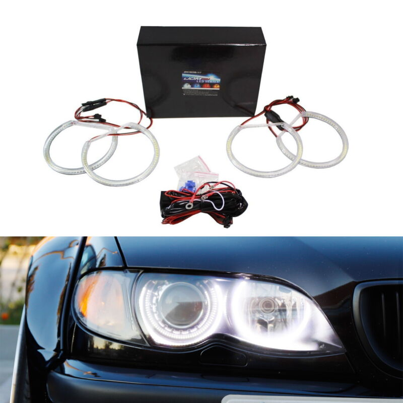 $49.99 • Buy Xenon White Headlight SMD LED Angel Eyes Halo Rings For BMW E39 E46 3 5 Series