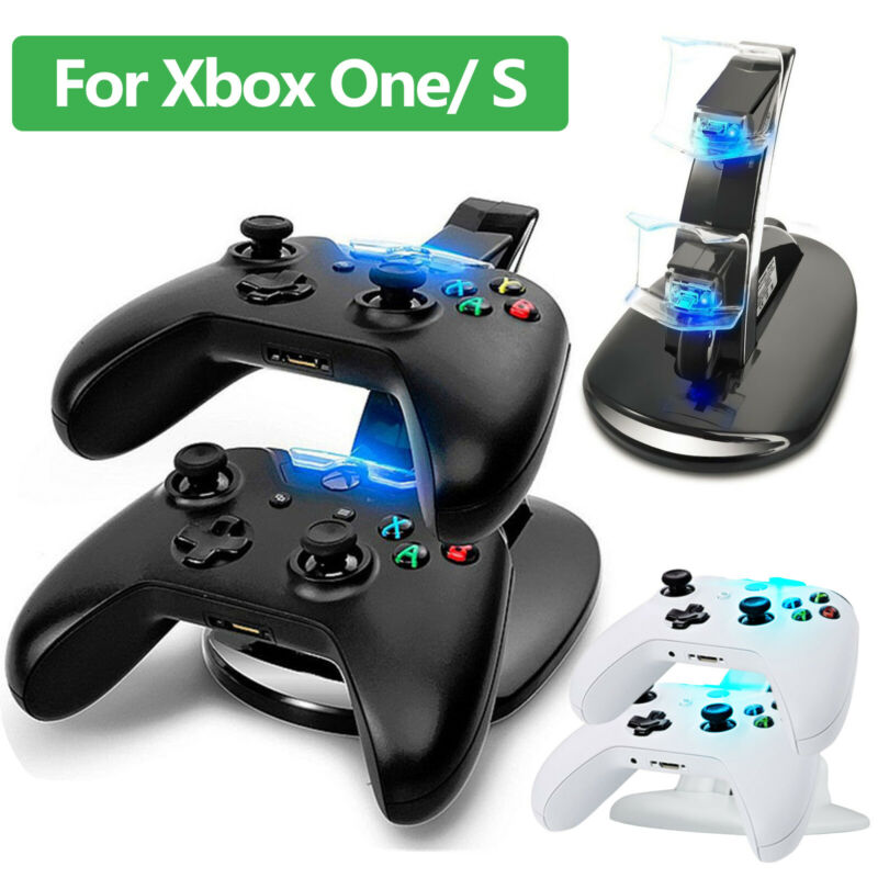 LED Dual Fast Charging Dock Station Charger For Xbox One / Xbox One S Controller • 8.97$