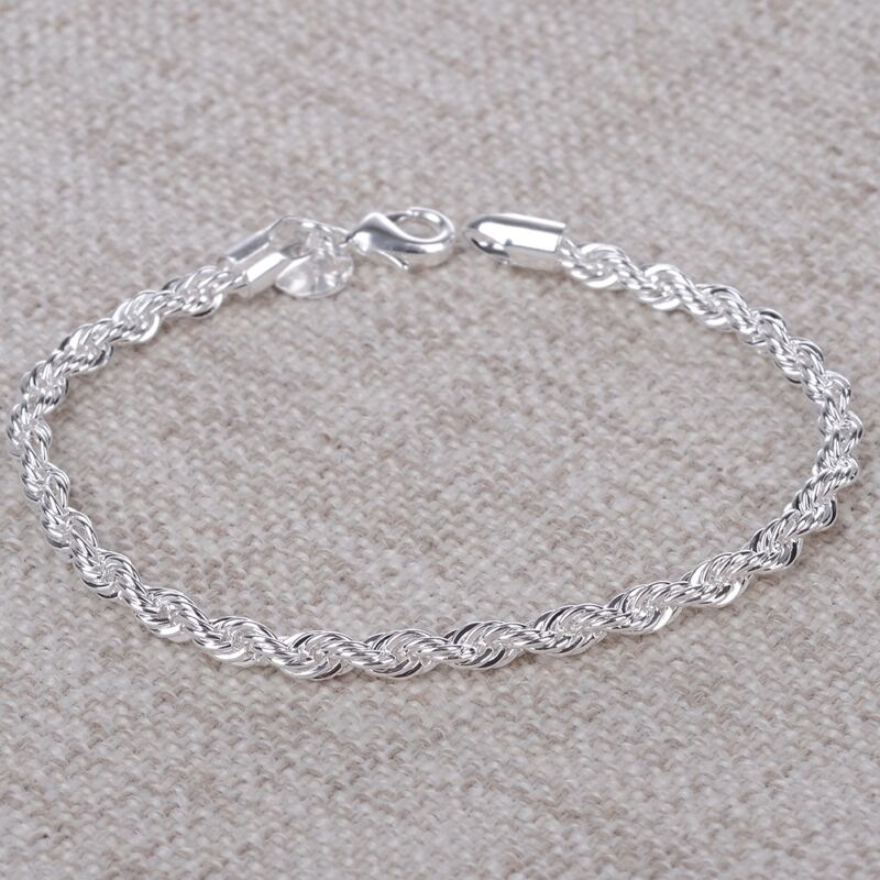 $1.05 • Buy Women Charm Silver Tone Stainless Steel Twisted Rope Chain Bangle Bracelet Gift