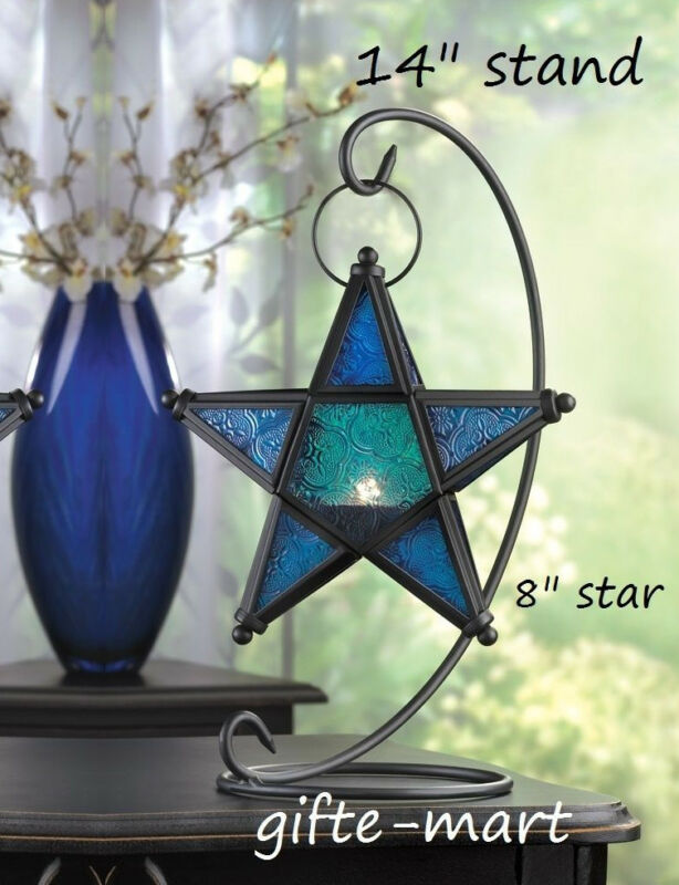 Hanging BLUE Moroccan STAR Candle Holder Lantern Light Outdoor & 14  Table Stand • 25.84$