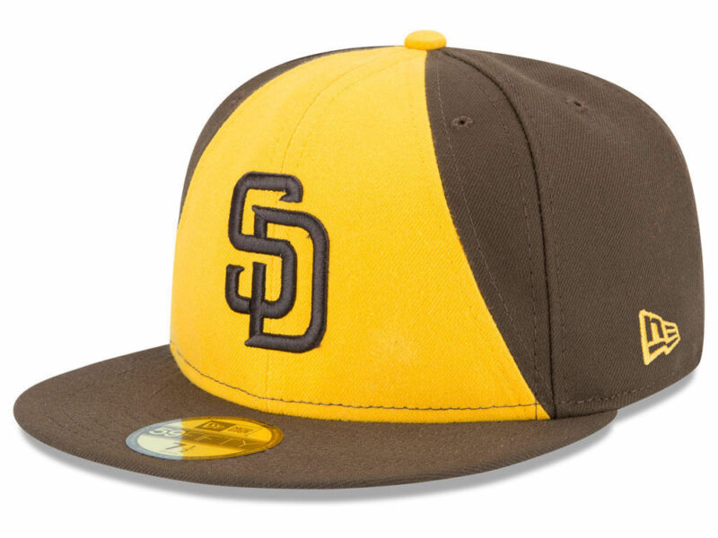 5f711a8402bba0 New Era San Diego Padres ALT 2 59Fifty Fitted Hat (Brown/Gold) MLB