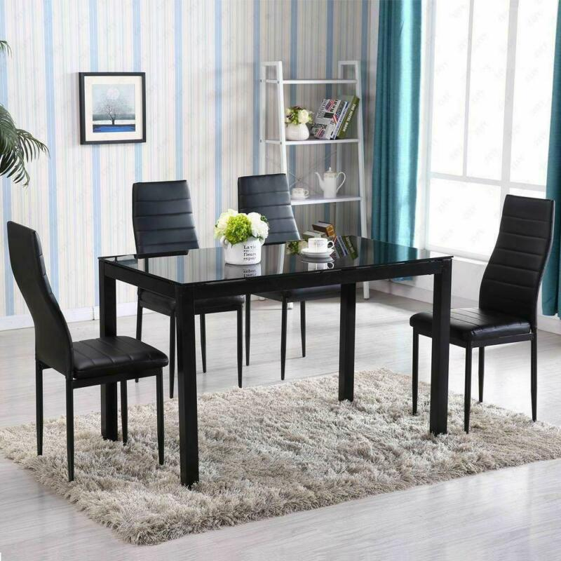 5 Piece Dining Table Set 4 Chair Glass Metal Kitchen Room Breakfast NEW • 145.99$