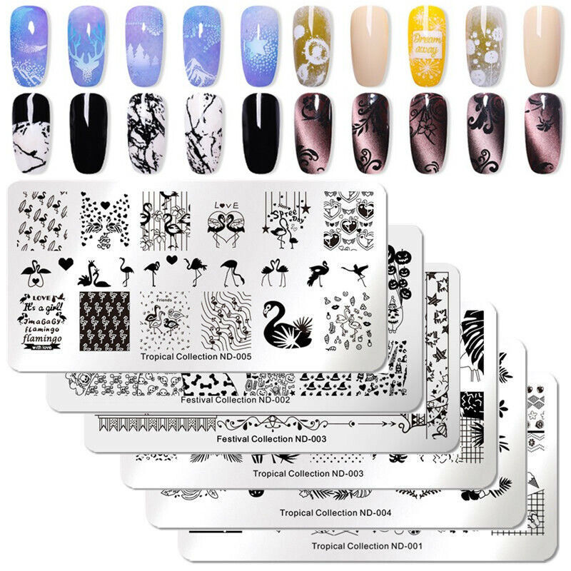 $1.59 • Buy NICOLE DIARY Nail Art Stamping Plates Fantastic Tropical Geometry Image Plate