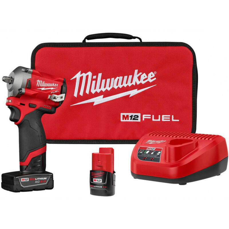 Milwaukee M12 2554-22 12-Volt FUEL 3/8-Inch Cordless Stubby Impact Wrench Kit • 244.79$