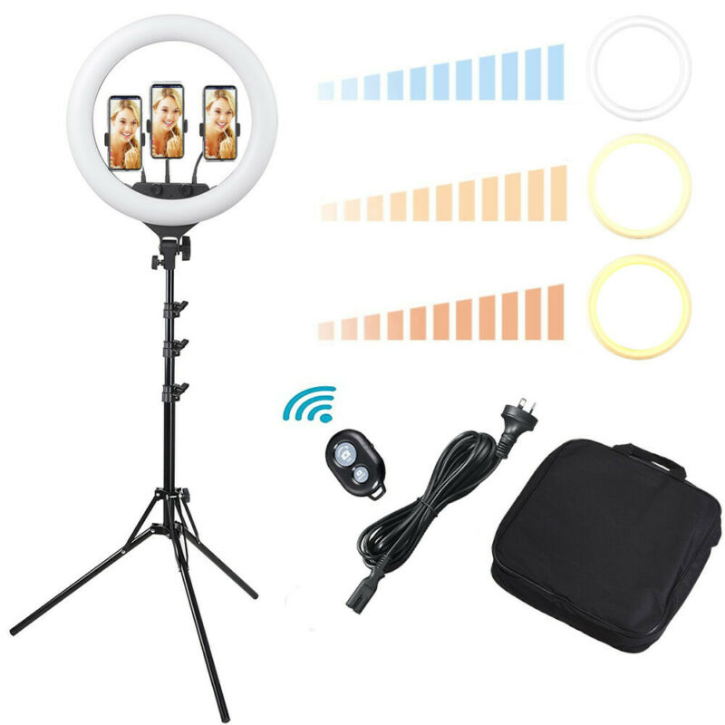 AU84.90 • Buy 19  Dimmable Diva LED Ring Light Kit Diffuser W/ Stand Photo Video Studio Makeup