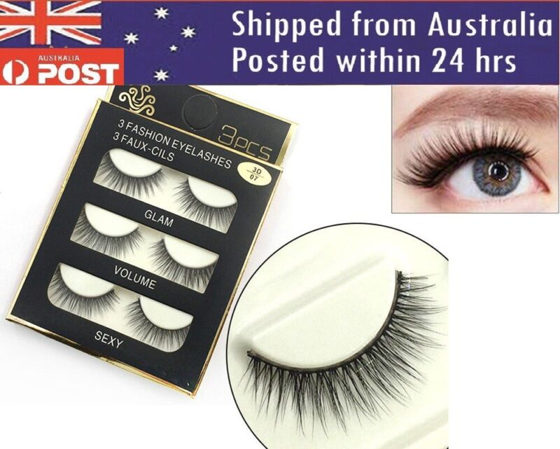 AU6.25 • Buy Eyelashes 3 Pairs Natural Long Thick Makeup Cross False Eye Lashes AU Stock Mink