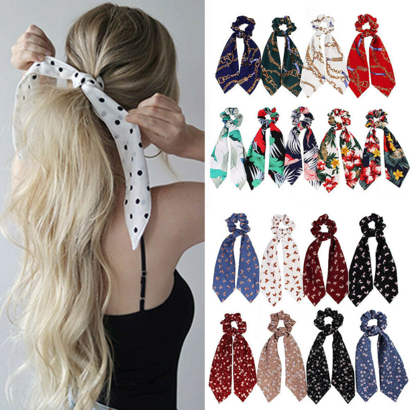 $1.39 • Buy Boho Print Ponytail Scarf Bow Elastic Hair Rope Tie Scrunchies Ribbon Hair Bands