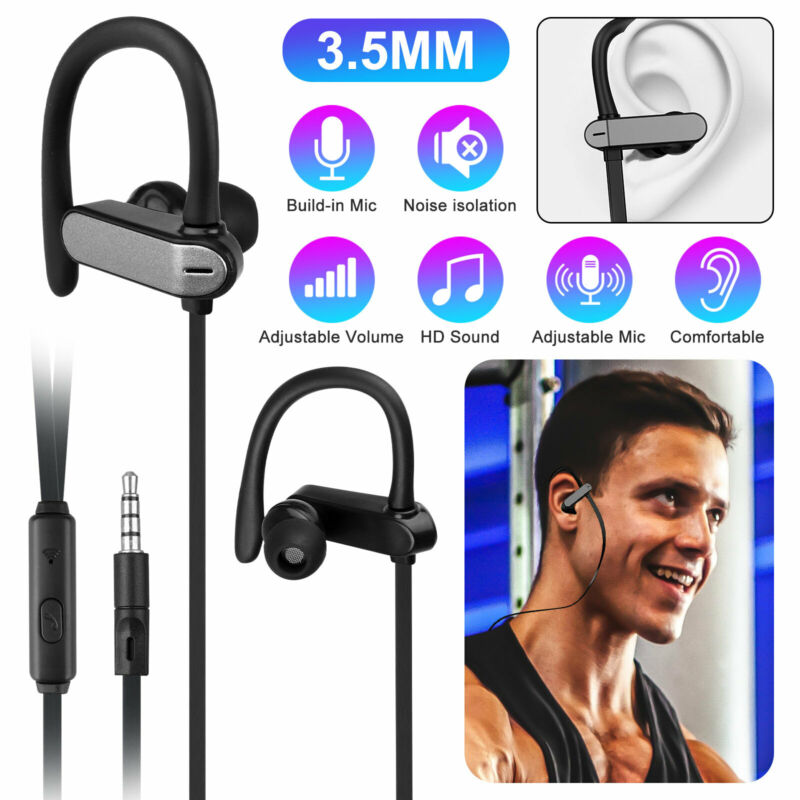 $7.29 • Buy 3.5mm Ear Hook Wired Sports Stereo Earphone Over Ear Earbuds Headphones W/Mic