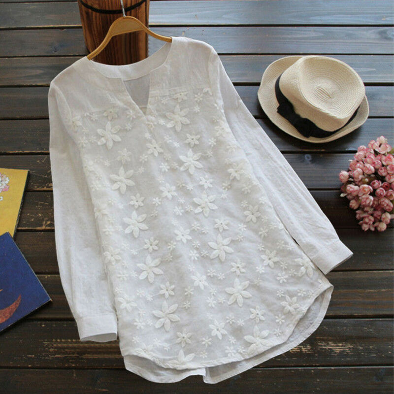 AU10.99 • Buy Womens Chiffon Blouse Tee Long Sleeve T-Shirt Casual V-Neck Tops Plus Size S-5XL