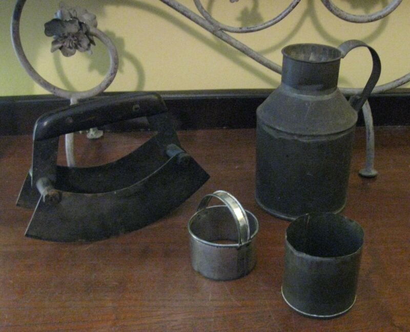 $ CDN32.84 • Buy 3 Antiques Handmade From Tin Cans-Milk Pitcher Creamer Jug 6½  2 Biscuit Cutters