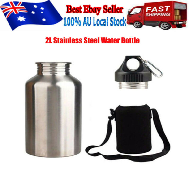 AU22.99 • Buy 2L Silver Stainless Steel Large Mouth Water Drink Bottle Kettle Cycling Sports !